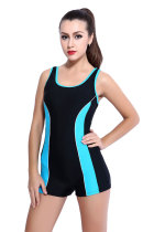 Boyleg Splice One Piece Bathing Suit