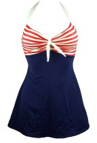 Vintage Sailor Stripes Halter Pin Up One Piece Bathing Suit Swimwear