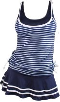 Two Pieces Vintage Sailor Stripes Tankini Swimsuit