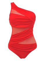 Sexy Plus Size Mesh One Shoulder Ruched One Piece Beachwear Swimsuit