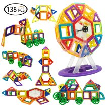 138PCS DIY Magnetic Building Blocks Set 3D Construction Building Tiles Magnet Playboards Educational Block Stacking Toys Set For Kids Creative Learning Education