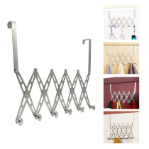 Reliancer Stainless Steel Over the Door 6 Hooks Hanger Rack Foldable for Coats Hats Robes Towels Keys Scarves Bag Door Holder Organizer Space Saving Home Office Kitchen Cabinet Bath Bedroom