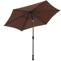 Reliancer 9 Feet Patio Umbrella Outdoor Market Aluminum Table Patio Canopies w/Push Button Tilt and Crank 250 GSM Fabric Brown