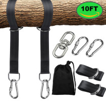Reliancer 2PCS Tree Swing Straps Hanging Kit 10FT Extra Long Waterproof Swing Ropes&Snap Carabiner Hooks&Swivel Hook Holds Up to 1800lbs for For Outdoor Tire Swings Hammocks w/Carry Pouch