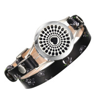 25mm Stainless Steel Diffuser Lockets Bracelet&Bangle, Black Leather
