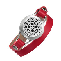 Red leather bracelet for Daughter diffuser locket stainless steel Valentine's Day Girlfriend gift double wrap bracelets