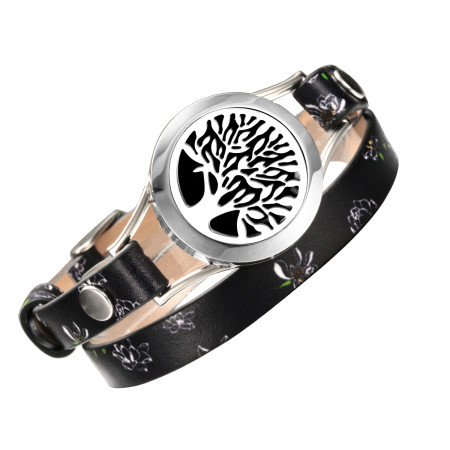 Tree of life wrap Bracelets Real Leather Essential Oil Diffuser Screw Down stainless steel Locket Bracelet for women