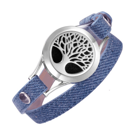 Denim Double wrap leather bracelet Locket Tree of Life aromatherapy diffuser bracelets Valentine's Day gift for wife