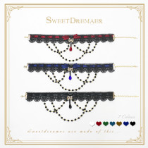 SweetDreamer ~Kashmir Star~Lolita chorker ~Water soluble lace bead chain Lolita necklaces
