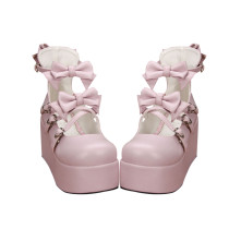 【 Angelic imprint】Sweet Lolita Platform Shoes White Bowknot