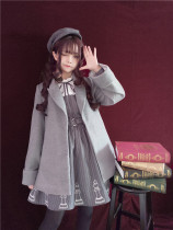 To Alice*Checker embroidery preppy style lapel wool coat