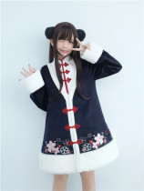 To Alice*Cherry blossom embroidery Chinese style false two woolen overcoats
