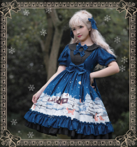 Little fox buy gloves~Printing Daily Lolita Dress with Short Sleeves
