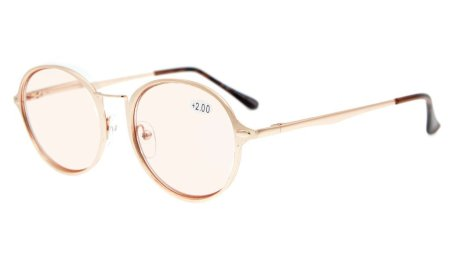 Computer Reading Glasses UV Protection Round Fashion Frame Tinted Lens Readers Women CG1642