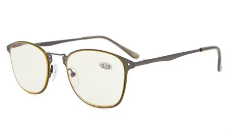 Computer Reading Glasses Yellow Tinted Lens Personality Glasses Spring Hinge CG15039
