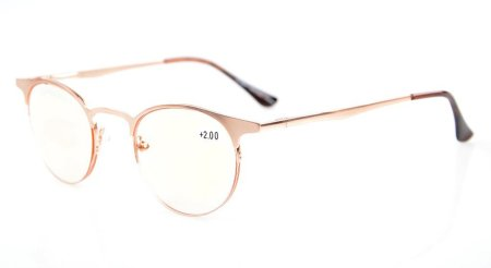 Computer Reading Glasses UV Protection Anti-Blue Rays Half-Rim Round Tinted Lens CG1638