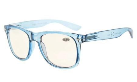 Computer Eyeglasses UV Protection Classical Large Frame with Tinted Lens Only Ship to US CG133-Blue-0-USAFBA
