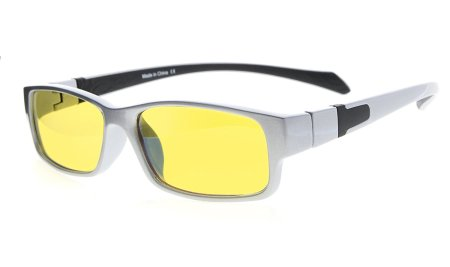 Computer Reading Glasses Anti Blue Light More than 94% TR90 Frame Yellow Tinted Lens CGXM02
