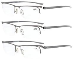 Reading Glasses 3-Pack Half-rim Lightweight Quality Metal Frame Readers Women Men R15615-3pcs