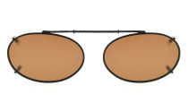 Metal Oval Frame Rim Polarized Lens Clip On Sunglasses 1 15/16 x 1 3/16 inch (49×30MM) C80