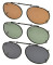 3-pack Oval Clip-on Polarized Sunglasses 1 15/16  x 1 3/16 inch (49×30MM) C80-3pcs-Mix