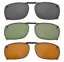 3-pack Clip-on Polarized Sunglasses 2 1/4×1 1/2 inch (54x38MM) C78-3pcs-Mix