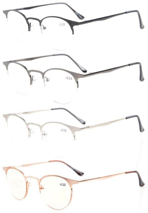 Quality Spring Hinges Half-Rim Oval Round Reading Glasses R1638-Mix-4pcs