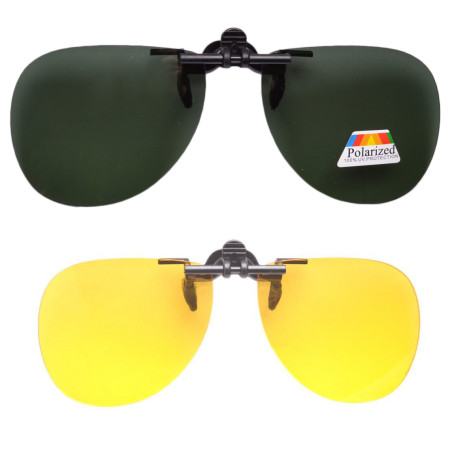 Pilot Day-Night 2 Pairs Valupac Clip up Flip up Sunglasses F10-2PC