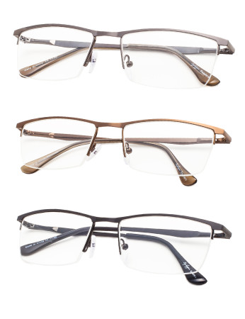Reading Glasses 3-Pack Quality Metal Half-Rim Design with Rectangle Lens R1614-3pcs-Mix