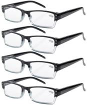 4-Pack Spring Hinges Rectangular Reading Glasses R012-4pcs
