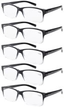 Eyekepper 5-Pack Vintage Reading Glasses Readers +1.75