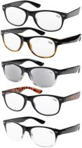 Eyekepper 5-pack Spring Hinges 80's Reading Glasses Includes Sun Readers +2.00