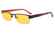 Computer Glasses Blue Light Blocking Half-rim Frame Quality Spring Hinge Colors Flexable Temples Black-Red LX17005