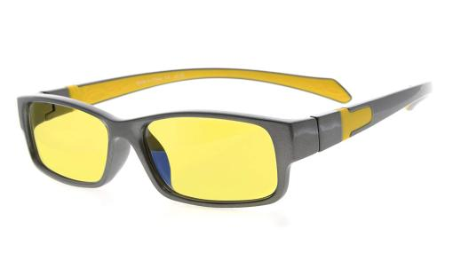 Computer Reading Glasses Anti Blue Light More than 94% TR90 Frame Yellow Tinted Lens Grey-Yellow +2.50