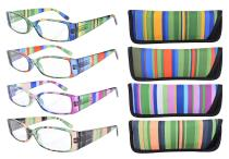 Reading Glasses 4-Pack Striped Design Temples with Rectangular Frame Readers Women Men Mix Color +2.75