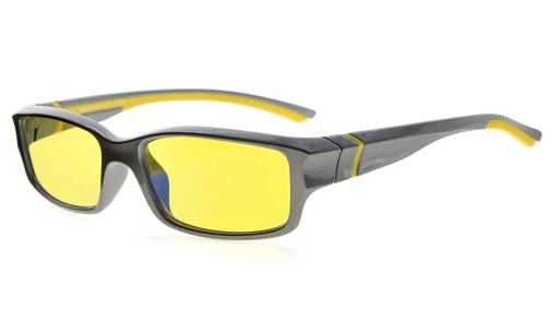 Computer Reading Glasses 94% Blue Light Blocking Yellow Tinted Lens Grey-Yellow +1.00