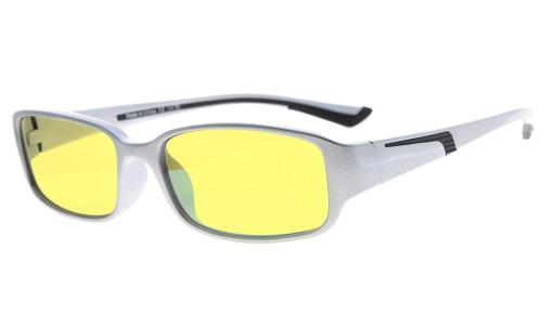Computer Reading Glasses Anti Blue Light Yellow Tinted Lens for Electronic User Silver-Black +2.50