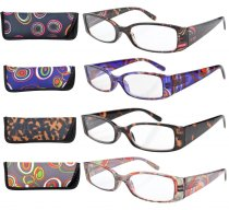 4-pack Reading Glasses Women Geometric Temples with Spring Hinge Plastic Mix Color +2.00