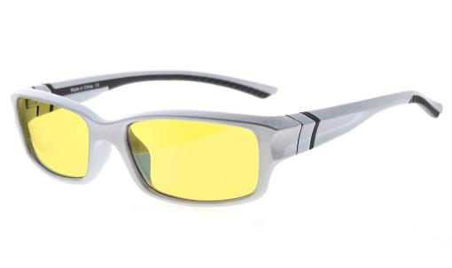 Computer Reading Glasses 94% Blue Light Blocking Yellow Tinted Lens Silver-Black +2.00