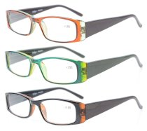 Reading Glasses Full-Frame 3 Pairs Mix Color for women +4.00