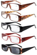 5 Pack Reading Glasses Rectangular Frame with Spring Hinges Sunshine Readers Mix Color +4.00