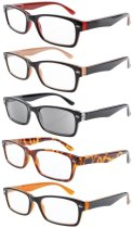 Reading Glasses 5-pack Quality Spring Hinge Includes Sunshine Readers Mix Color +2.50