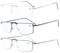 3-pack Classical Stainless Steel Frame Spring Temple Reading Glasses R15021-Mix
