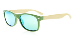 Polarized Sunglasses Quality Spring Hinges Bamboo Wood Arms Women Green/GreenMirror R093-Polarized