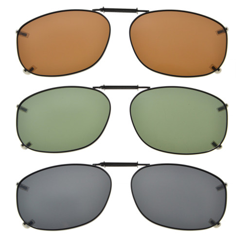 3-pack Clip-on Polarized Sunglasses 2 1/8 x1 7/16 inch (54×37MM) C67-3pcs-Mix