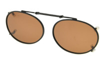 Metal Oval Frame Rim Polarized Lens Clip On Sunglasses 1 15/16 x 1 3/16 inch (49×30MM) Brown C80
