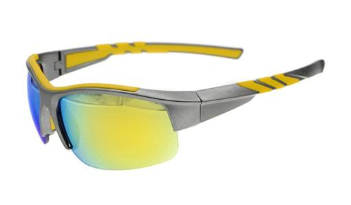 Sunglasses Polarized Half Rimless Polycarbonate TR90 Unbreakable Sport Grey/Gold Mirror TH6226