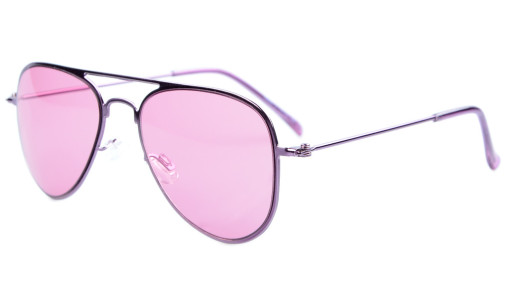 Stainless Steel Frame Pilot Kids Children Sunglasses Purple Lens S15017