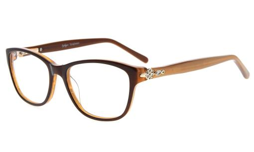 Eyeglasses Stylish Rx-able Acetate Frame with Quality Spring Hinge for Women Brown FA0061