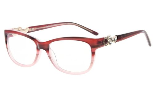 Eyeglasses Cat-eye Style Frame Quality Spring Hinges Retro Black Temples for Women Red FA0063